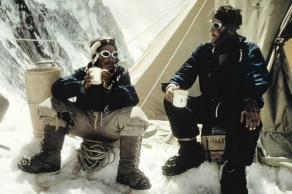 Tensing Norgay and Edmund Hilary on Mount Everest, May 28 1953