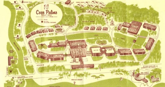 Amfac Resort map of the Coco Palms from the back side of the guest information brochure, July 1981. King's Cottages are located between the lagoon and the coconut grove, to the left of the reception building. Queen's Cottages are to the right